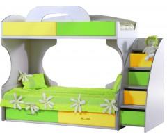 Кровать Пионер МДФ c ящиками и лестницей салатовая