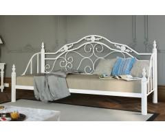 Ліжко-диван із металу з дерев'яними ніжками Леон