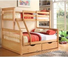 Трьохспальне  двохярусне ліжко з шухлядами Лозанна