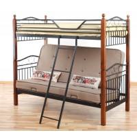 Двоярусне металеве ліжко з диваном Футон