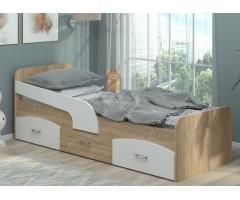 Подростковая кровать с ящиками и бортиком Милка ДСП