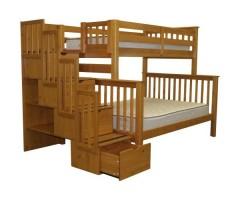 Двухъярусная трехспальная кровать с лестницей-комодом Полина