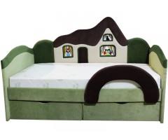 Дитяче ліжко з ортопедичним матрацом і бортиком Будиночок 09K07